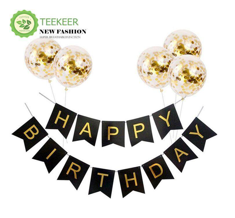 Teekeer Happy Birthday Banner With 5 Pieces Gold Confetti Dots Balloons, Flag Garland Fit, Birthday Party Decorations