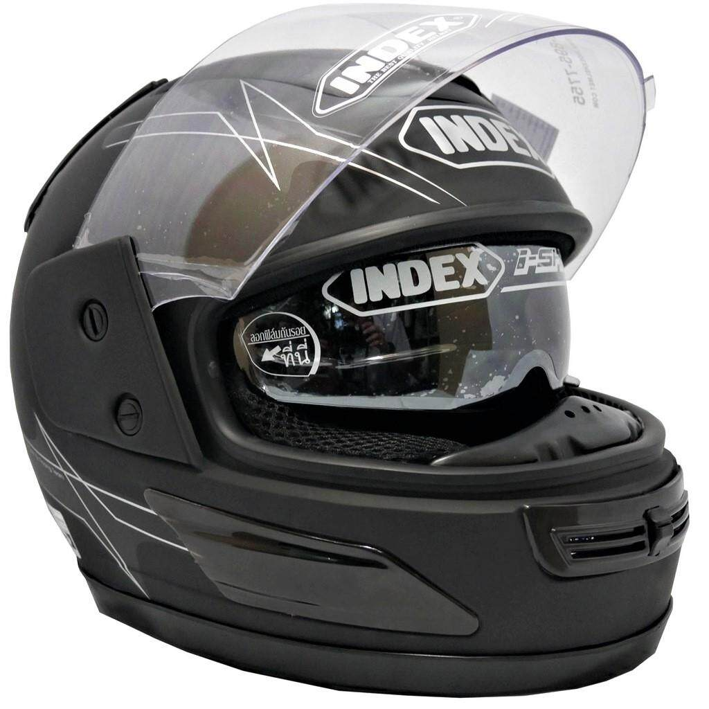 Index หมวกกันน็อคเต็มใบ รุ่น811 I-Shield สามารถยกเปิดหน้าได้สะดวกและมีแว่นกันแดดด้านใน ตัวหมวกมี2สี(สีดำด้าน/สีดำเงา) พิเศษ!!แว่น2ชั้น(แว่นกันแดดด้านในยกเก็บได้+ชิลเลนส์กันลมด้านนอก) อุปกรณ์สวมใส่สำหรับขับขี่ Helmet หมวกกันน็อคสำหรับทั้งผู้ชายและผู้หญิง.