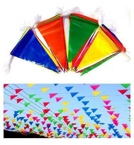 ธงจัดงาน ธงราว ธงหลากสี ธงงานวัด งานปาร์ตี้ มัดใหญ่ ยาว 15 เมตร ธง 29-30 ผืน By Toahmubucha.