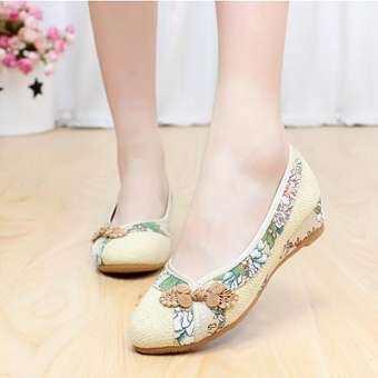 ฤดูใบไม้ผลิใบไม้ร่วงรองเท้าผ้าปักกิ่งโบราณรองเท้าสตรีส้นเตี้ยส้นเตารีดรองเท้าชั้นเดียวรุ่นผู้หญิงส้นสูงปานกลางส้นเอ็นวัว MIMZF ระบายอากาศรองเท้าผ้าใบหญิง