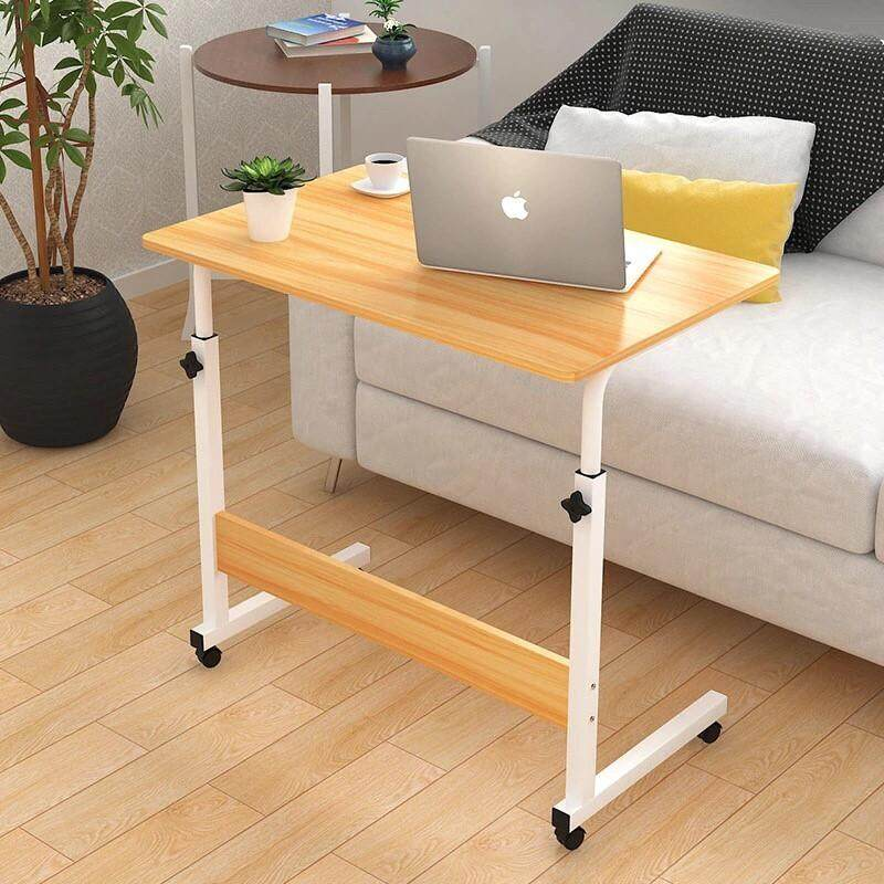 ✨สินค้าพร้อมส่ง✨โต๊ะวางโน๊ตบุ๊ค โต๊ะคอม ล้อเลื่อน 60x40 Cm ปรับระดับขึ้นลง 70-90 Cm.