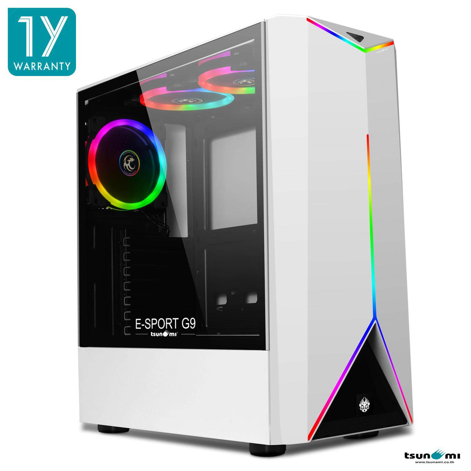 E-Sport G9 Dual Ring Rgb Atx Gaming Case (with Tempered Glass Side Panel) + G-Series Rgb 12cm Cooling Fan X3 By Fun Republic Co.,ltd..