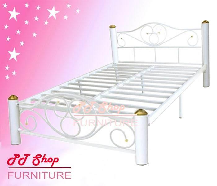 Ptshop เตียงเหล็ก ขากว้าง 3 นิ้ว ขนาด 6 ฟุต รุ่น Lotus-6s (สีขาว) By Ptshop Furniture.