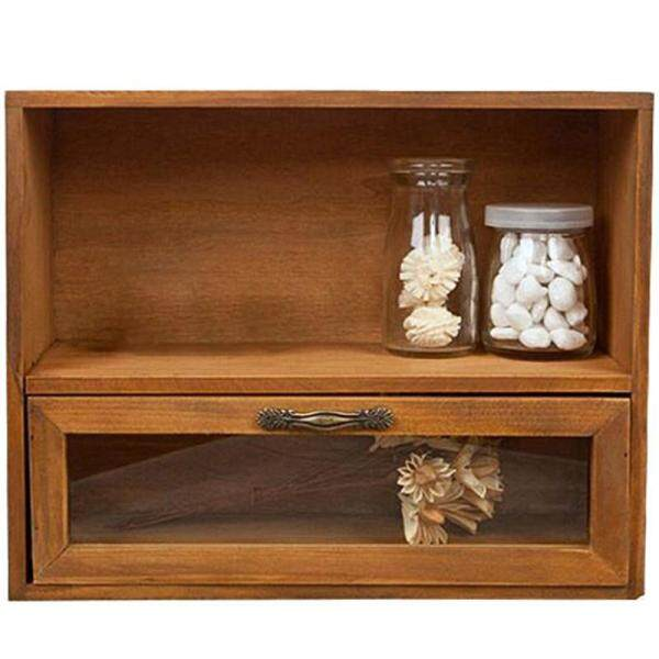 Wood Cabinet Box Organizer Storage Glass Drawer Vintage Finishing Storage Retro Finishing Storage Box 30x12x24cm