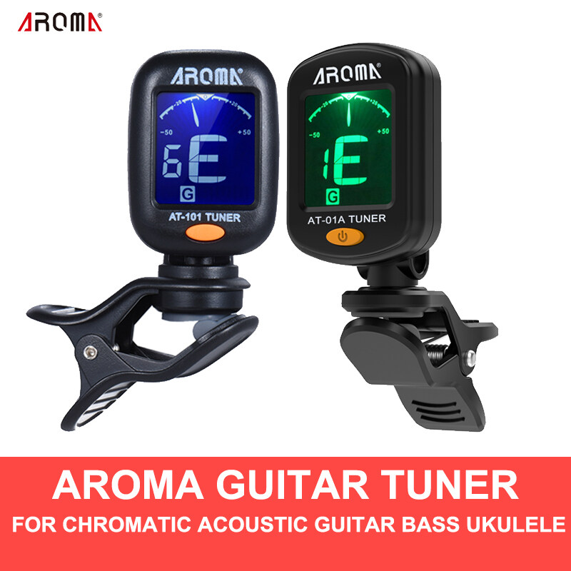 Aroma At-01a Guitar Tuner ผู้ปรับเสียง Rotatable Clip-On Tuner Lcd Display For Chromatic Acoustic Guitar Ukulele Guitar Accessories At-101.