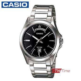 Casio Standard นาฬิกาข้อมือผู้ชาย สายสแตนเลส รุ่น MTP-1370D-1A1VDF (หน้าดำขีดขาว)-