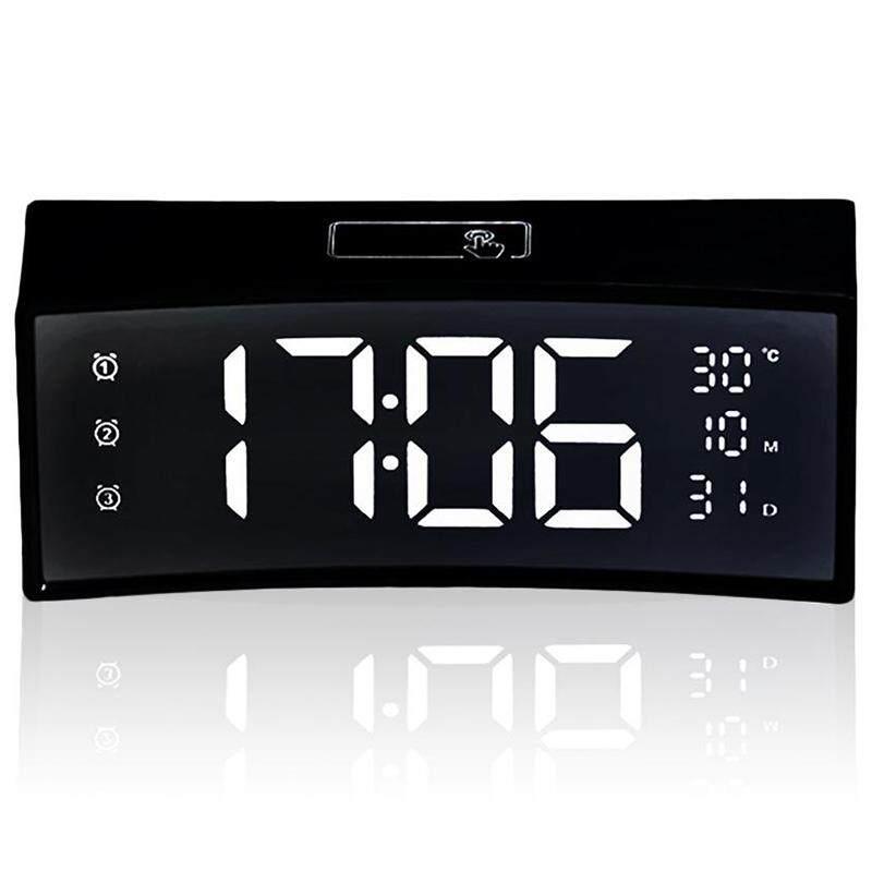 3D Curved Surface Screen Floating Font Smart Mirror Clock Electronic Clock Bedside Digital Led Alarm Clock Snooze Large Display