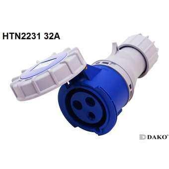 Power Plug (เพาเวอร์ปลั๊ก) HTN2131 (16A) & HTN2231 (32A) 3Pin กันน้ำ IP67  ยี้ห้อ Dako ปลั๊กโรงงาน ปลั๊กอุตสาหกรรม