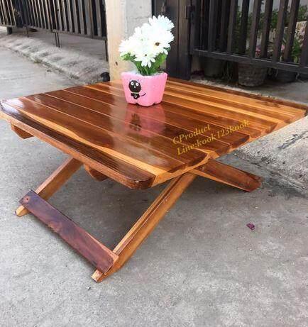 Cproduct โต๊ะพับญี่ปุ่นไม้สักทอง โต๊ะพับ โต๊ะปิคนิค โต๊ะญี่ปุ่น โต๊ะทำงาน โต๊ะอเนกประสงค์ ขนาด 67x67 สูง 30ซม. เคลือบเงายูรีเทน.