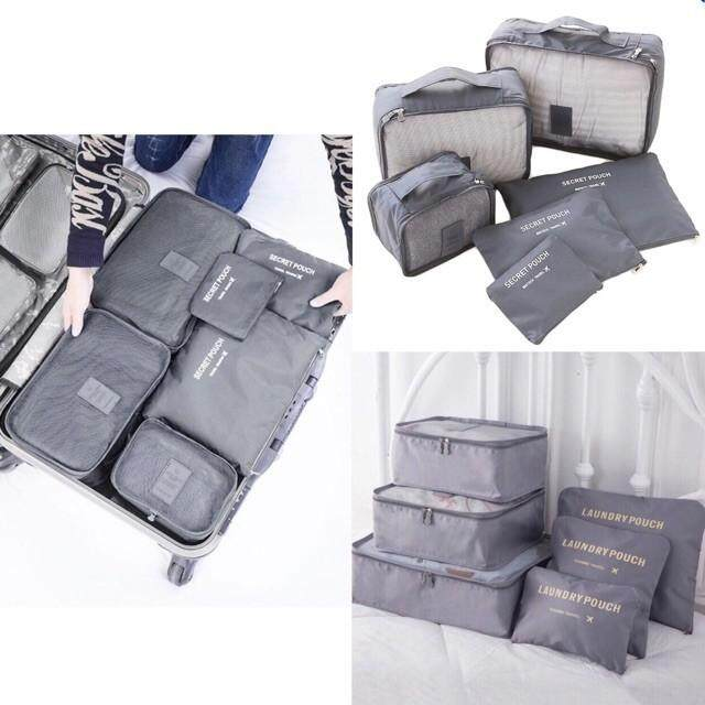 มีให้เลือก 5 สี กระเป๋าจัดระเบียบ กระเป๋าจัดเก็บระเบียบพกพา เซต 6 ใบ.