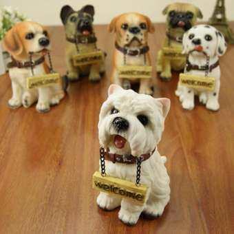 บ้านร้านตกแต่งงานฝีมือ Diao การ์ดยินดีต้อนรับตุ๊กตาสุนัขโรงแรมต้อนรับตกแต่งเรซินงานฝีมือน่ารักสุนัข Miniatures-นานาชาติ