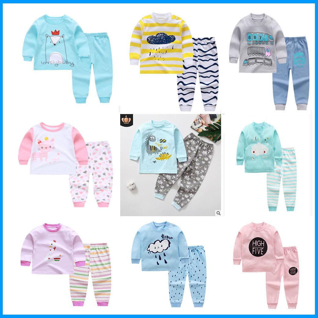 พร้อมส่งจากไทย (ชุดนอนเด็ก ชาย 4 เดือน - 6 ขวบ)?ผ้านิ่ม Cotton ลายการ์ตูนน่ารักสีสันสดใส Size 73-120 เสื้อผ้าเด็ก ชุดนอนเด็ก ผู้ชาย ผู้หญิง.
