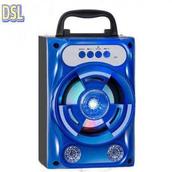 ลำโพง Bluetooth ไร้สาย, ซับวูฟเฟอร์ (รองรับไมโครโฟน, บลูทู ธ , USB, การ์ด TF, วิทยุ) ลำโพง Bluetooth พกพา, ไฟ LED สีสันสดใส ลำโพงบลูทู ธ Bluetooth Speaker ลำโพงบลูทูธ ตระกูลสี สีน้ำเงินไม่มีไมโครโฟน,Blue without microphone
