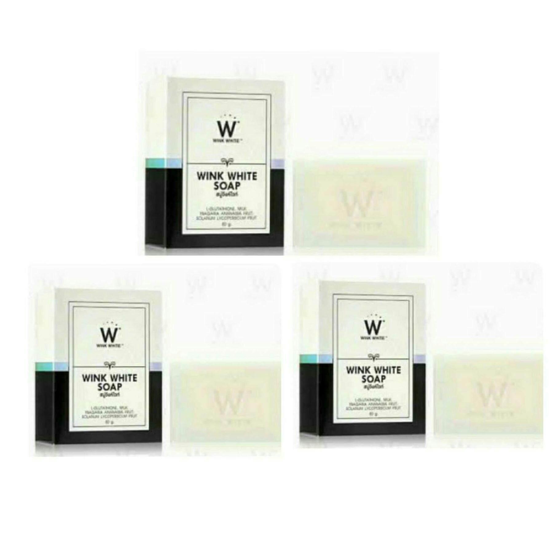 (3 ก้อน) สบู่วิงค์ไวท์  Wink White Soap ก้อนขาว สำหรับผิวกาย บรรจุก้อนละ 80g