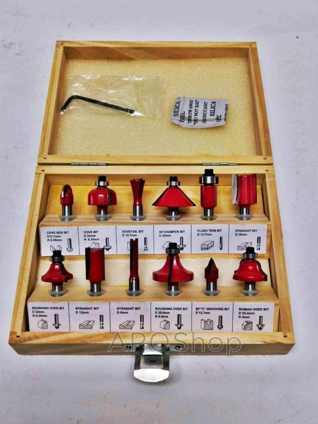 ชุดดอกทริมเมอร์ 12 ดอก เซาะร่อง ขุด แกะลวดลาย 1/4 ( แกน 6 มิล ) กล่องไม้ สวยงาม สำหรับ เครื่องเซาะร่อง ทริมเมอร์ เร้าเตอร์ 2 หุน