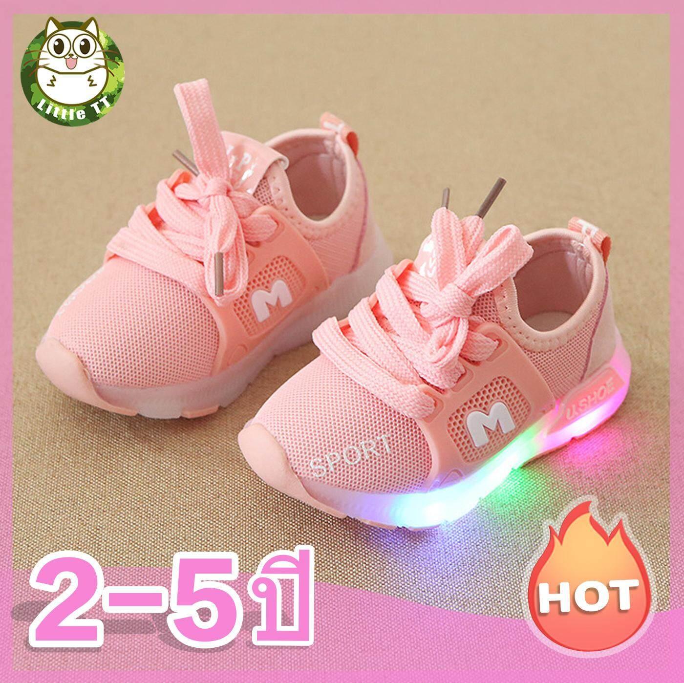 เด็กรองเท้าผ้าใบสาว ๆ ที่มีน้ำหนักเบารองเท้าระบายอากาศ led รองเท้าเด็กลื่นสบายระบายอากาศรองเท้าเด็กรองเท้ากีฬา 1 ~ 5 ปีเด็กรองเท้า