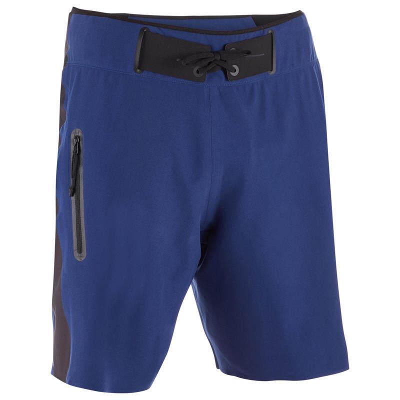 กางเกงชายหาดความยาวมาตรฐานสำหรับโต้คลื่น สีฟ้านวล STANDARD SURFING BOARDSHORTS SOFT BLUE OLAIAN