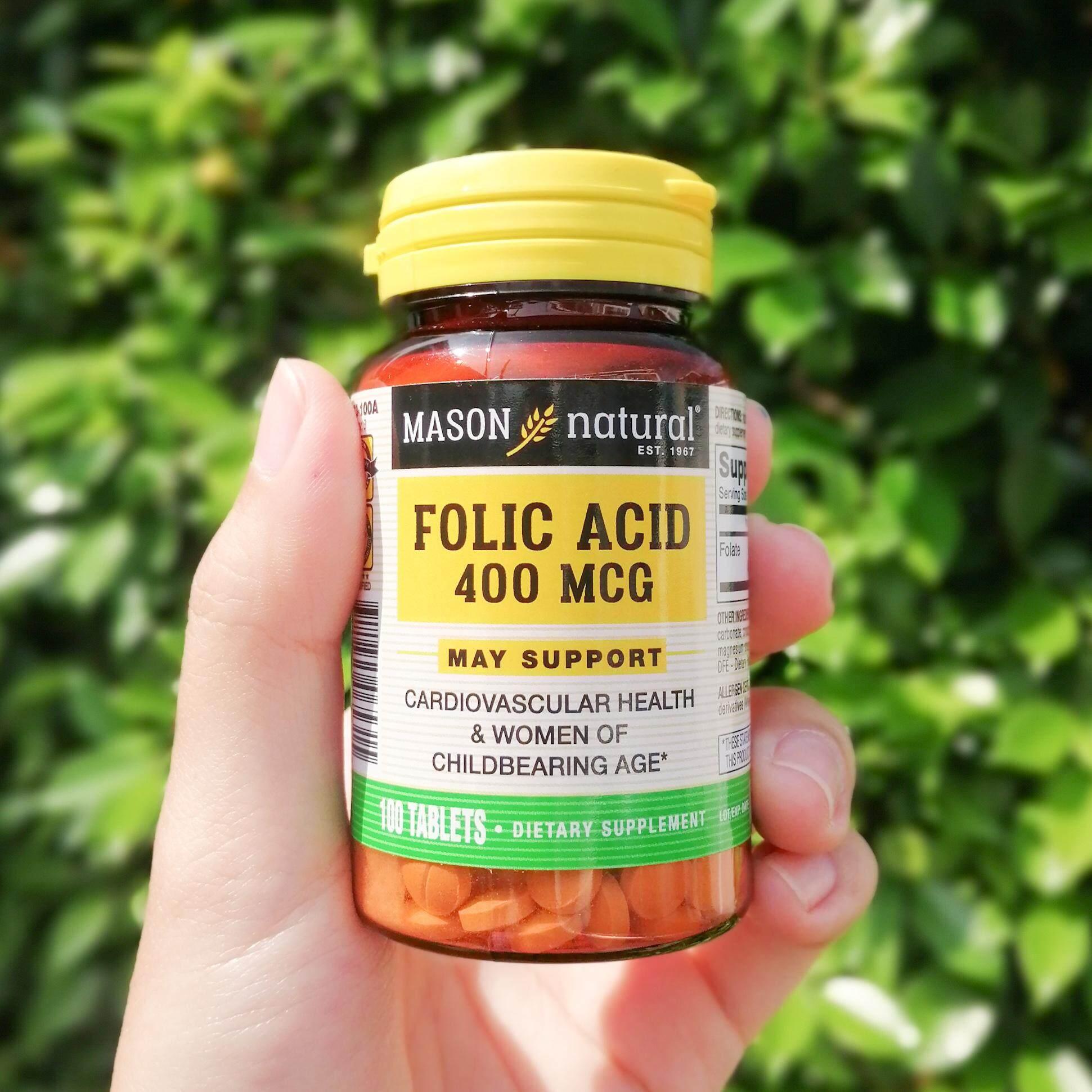กรดโฟลิก Folic Acid 400 Mcg 100 Tablets (mason Natural®) โฟเลต Folate เหมาะกับหญิงกำลังตั้งครรภ์ บำรุงหัวใจและหลอดเลือดหัวใจ ช่วยบำรุงระบบประสาทและเผาผลาญพลังงาน.