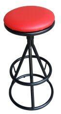 Inter Steel เก้าอี้บาร์เล็ก  เบาะหมุน รุ่น Ct-Os สีดำ/แดง.