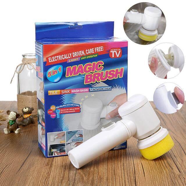 Magic Brush 5in1 แปรงหมุน ขัดทำความสะอาดเอนกปประสงค์ ล้างสุขภัณฑ์ ล้างเครื่องครัว By Sukjaishop.