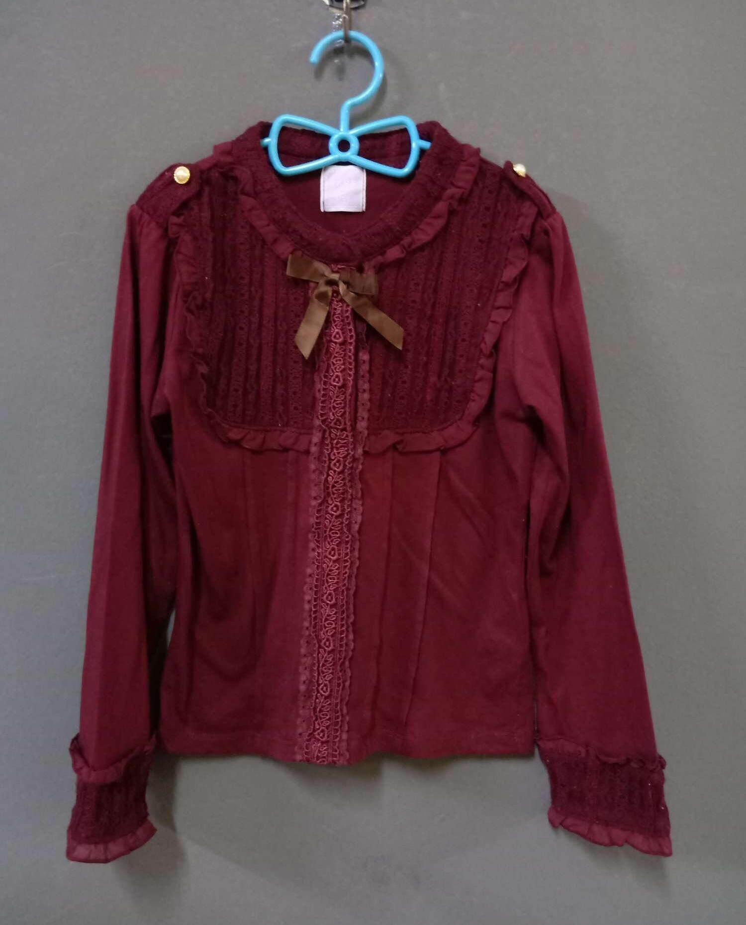 เสื้อแขนยาวเด็กมือสอง ผ้าลูกฟูกสีแดงสดใส.