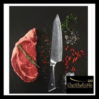 มีดเชฟ ญี่ปุ่น ดามัสกัสแท้ ตีทบ 67 ชั้น ใบยาว 20 cm ด้ามจับ G10 สีดำ Damascus Chef Knife 67 layers with G10 handle super luxurious