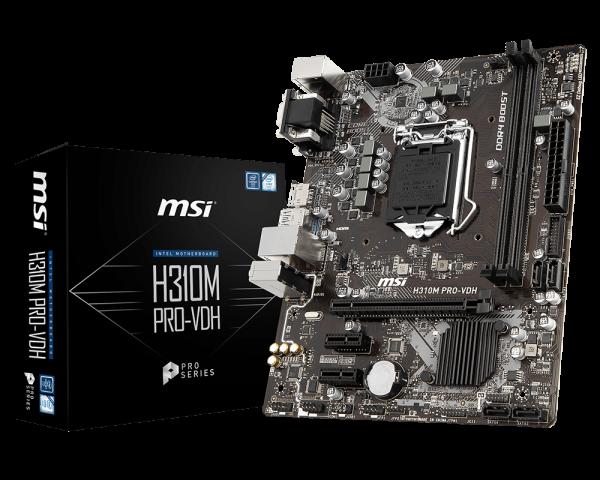Mainboard(เมนบอร์ด) 1151 Msi H310m Pro Vdh Supports Intel Gen8 Gen9 สินค้าใหม่ รับประกัน 3 ปี 05486, 05382.