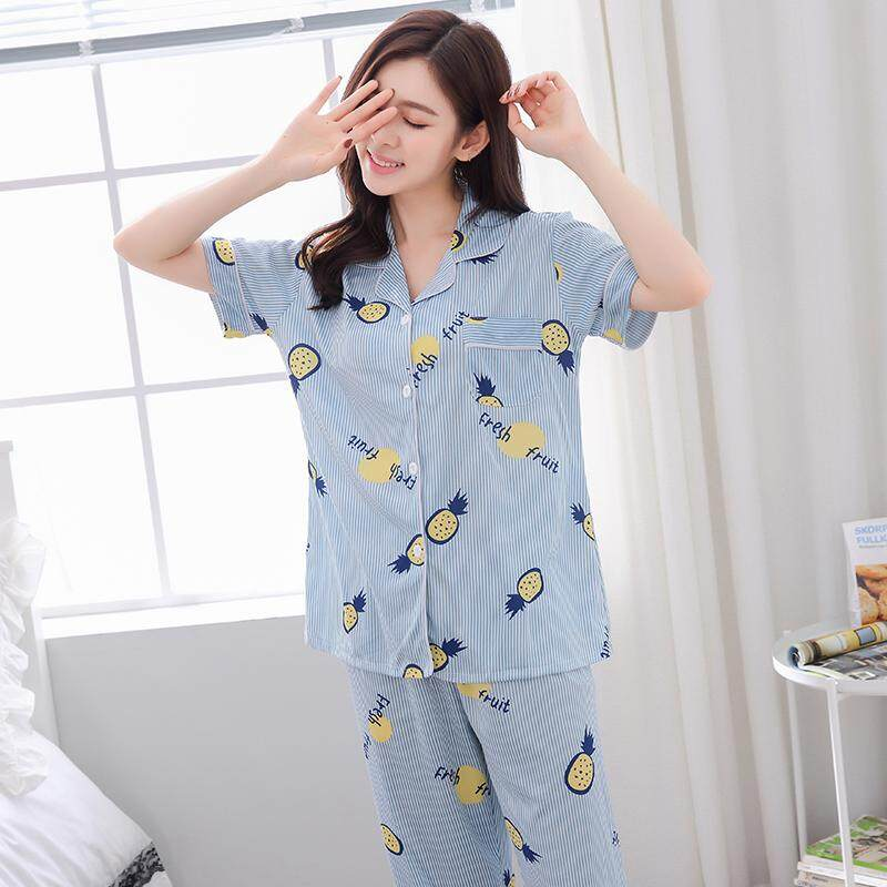 54b00b628840 Pajamas women Spring And Autumn Korean Style Pure Cotton Short Sleeve  Cardigan Sweet Cute Loose And
