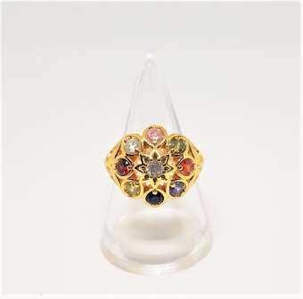 แหวนนพเก้า แหวนเสริมสิริมงคล ฝังพลอย9ชนิด แหวนประดับด้วยนพรัตน์ ฝังอัญมณีโดยรอบ เคลือบทองอิตาลี่24K เคลือบแก้ว มาตรฐานยุโรป เหมือนทองมากทั้งสีและน้ำหนัก ไม่เป็นสนิม ไม่คัน ไม่แพ้ ใส่ได้เป็นปีๆ-