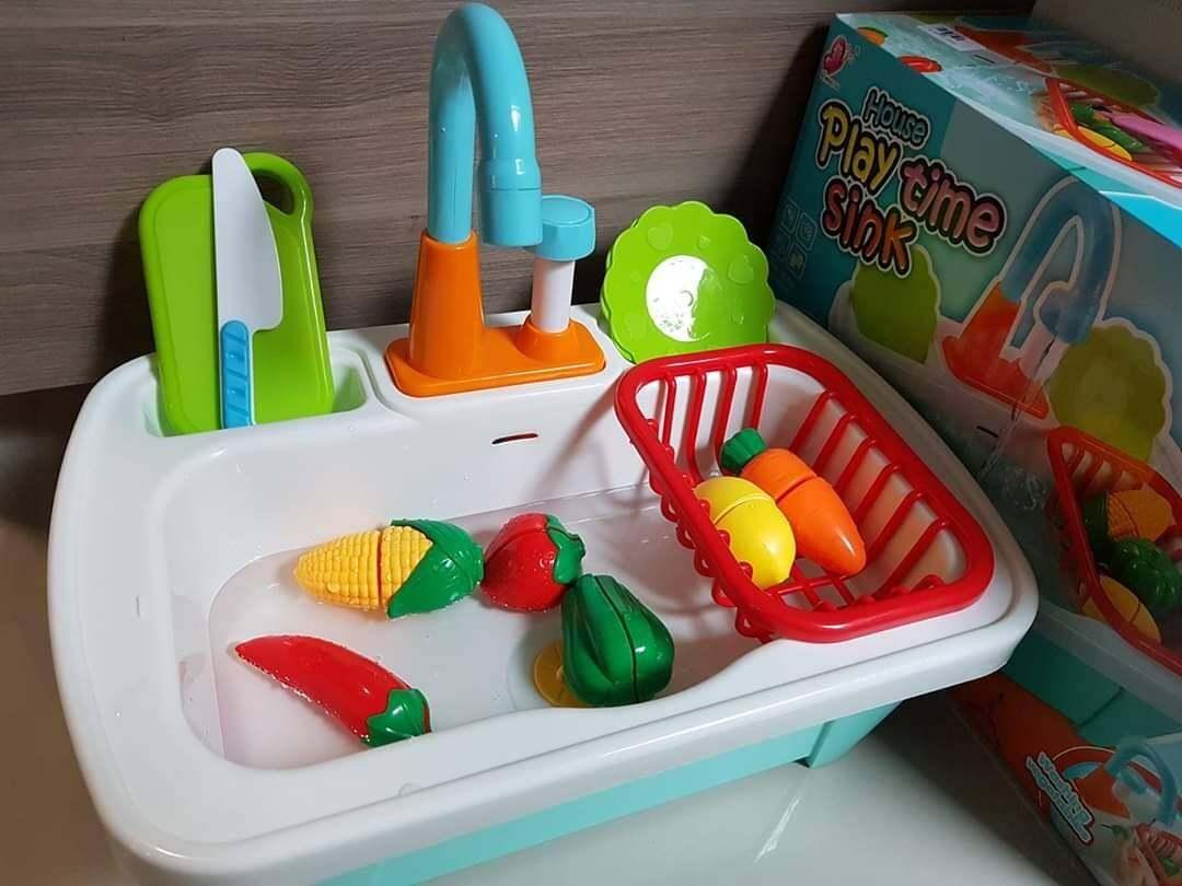 Big Sale For Baby ซิงค์ล้างผักผลไม้  เปิดน้ำได้ ในเซ็ทมีชุดซิงค์  ตระกร้า จาน   มีด เขียงผลไม้สามารถหั่นครึ่งและประกบใหม่ได้.