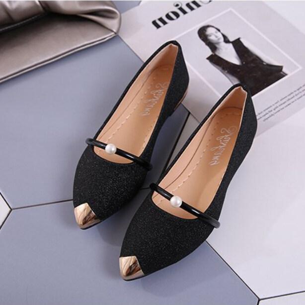 สุภาพสตรีรองเท้าผู้หญิงแฟชั่นปลายแหลมลำลองรองเท้าส้นเตี้ยแบน Shoes【reference ขนาด Chart】? Qing Shui Storie ?.