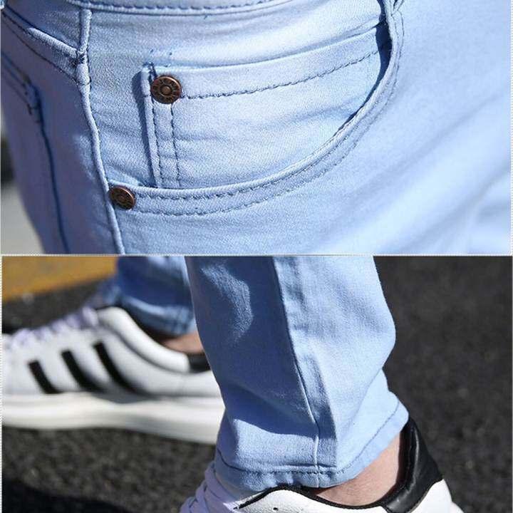 Zzooi Autumn New Male Denim Pants Solid Color Skinny Pencil Jeans For Men High Street Elasticity Slim Fit Trousers Ropa De Hombre 2020 Lazada