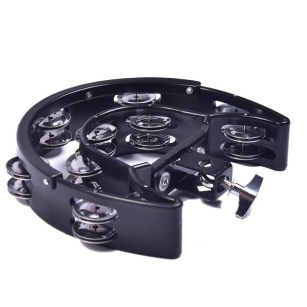 Double Ring Moon Tambourine Tambourine Jazz Drum Rhythm Tamborine Percussion Instrument Accessories-Black
