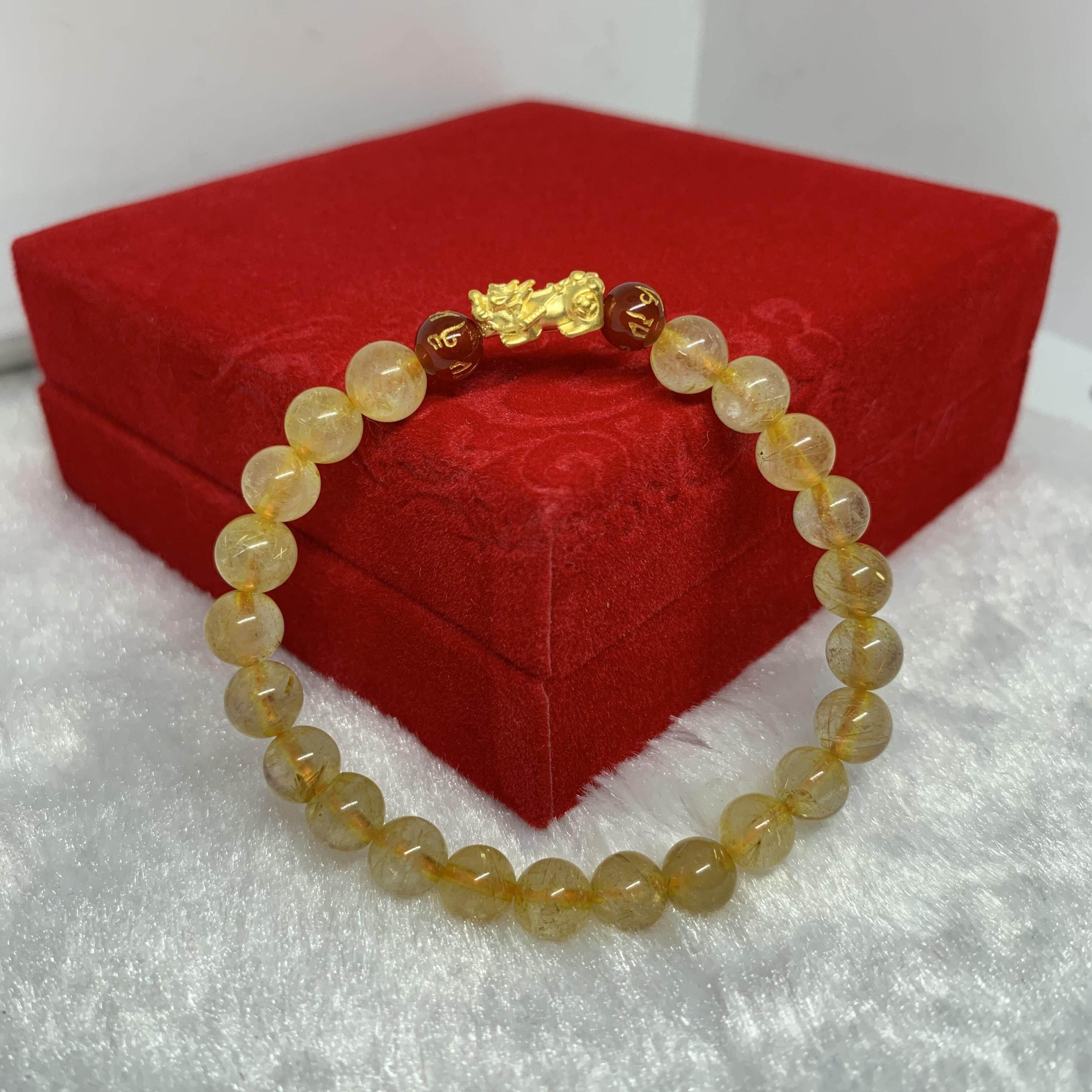 ปี่เซียะทองคำแท้ 99.99% ไหมทอง (golden Rutilated Quartz) หินเสริมความมั่งคั่งร่ำรวย เรียกโชคลาภ By Jinda Gold.