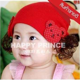 หมวกเด็ก หมวกปอยผมเด็ก หมวกไหมพรมติดปอยผม 2 ข้าง หมวกวิกผม หมวกไหมพรมฝ้ายเกาหลี น่ารักๆ