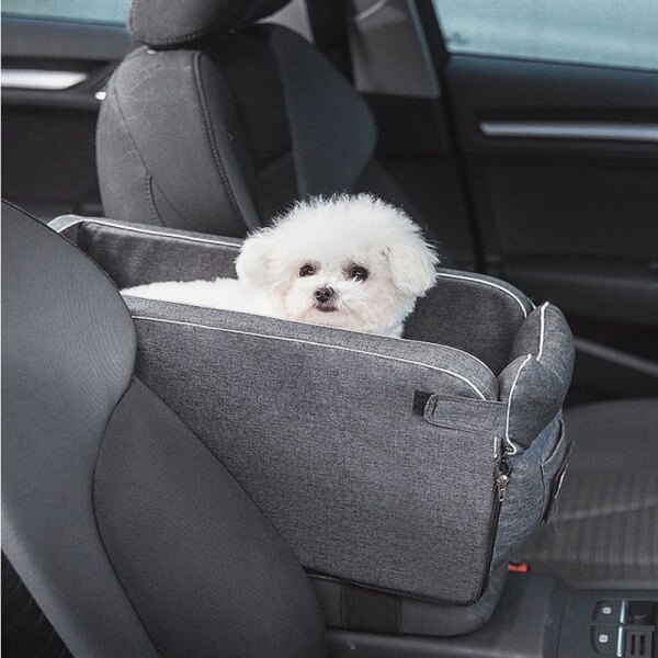 Car Armrest Box Pet Carrier Seat Nonslip Quilted Pet Car Carrier Seat for Dog Bags for Small Dogs Outdoor Travel