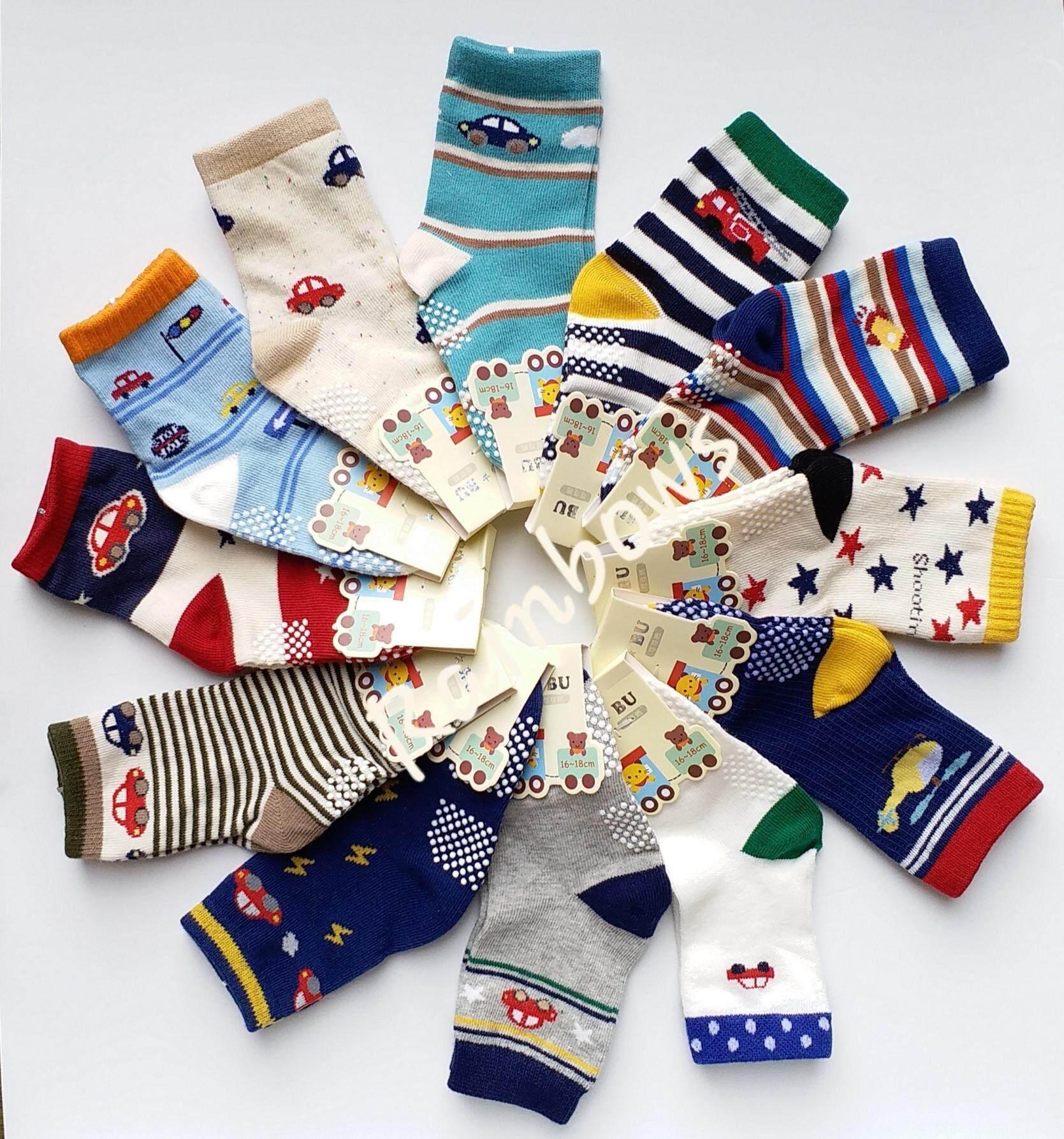 COCO BU ถุงเท้าเด็ก ถุงเท้าเด็กชาย ถุงเท้าลายน่ารัก พื้นมีกันลื่น #ถุงเท้าคุณภาพดี (แพค 12 คู่)