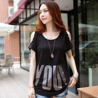 2019 ฤดูร้อนสไตล์เกาหลีหลวมไซส์พิเศษไซส์ใหญ่พิเศษเสื้อผ้าสตรีพิมพ์ลายตัวอักษรเสื้อตัวเล็กไขมัน MM เสื้อผ้าแฟชั่น เปิดไหล่เสื้อยืดแขนสั้นน้ำหญิง