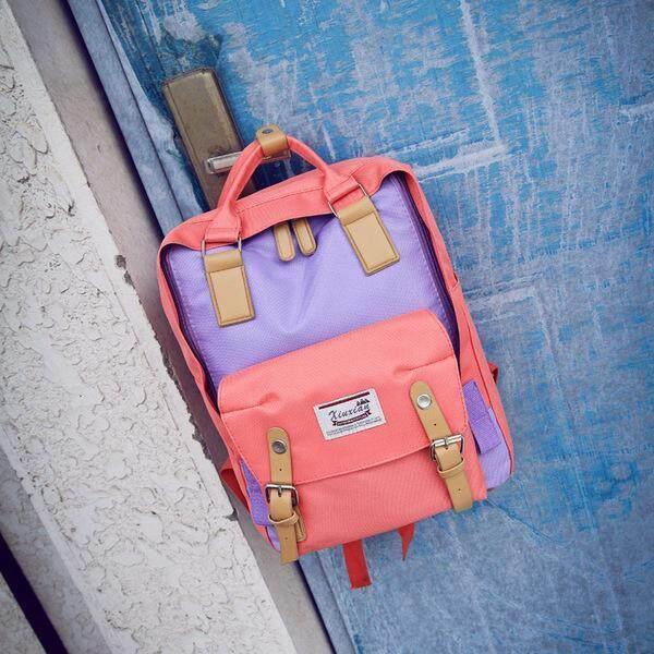 Lucky Shopพร้อมส่งมากๆกระเป๋าเป้สีสันพาสเทล สวย น่ารัก แนวเกาหลีขนาดกำลังดี.
