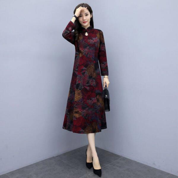 Chelongsam đã cải tiến phiên bản 2020 Một người phụ nữ ngoại quốc cao cấp mặc váy mẹ tuổi trung thành vào mùa xuân và mùa thu AW31
