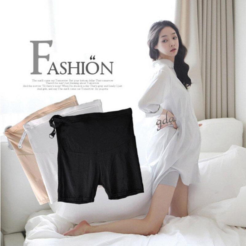 กางเกงขาสั้นคนท้อง เอวสูง พยุงครรภ์ มีสายปรับระดับที่เอว.