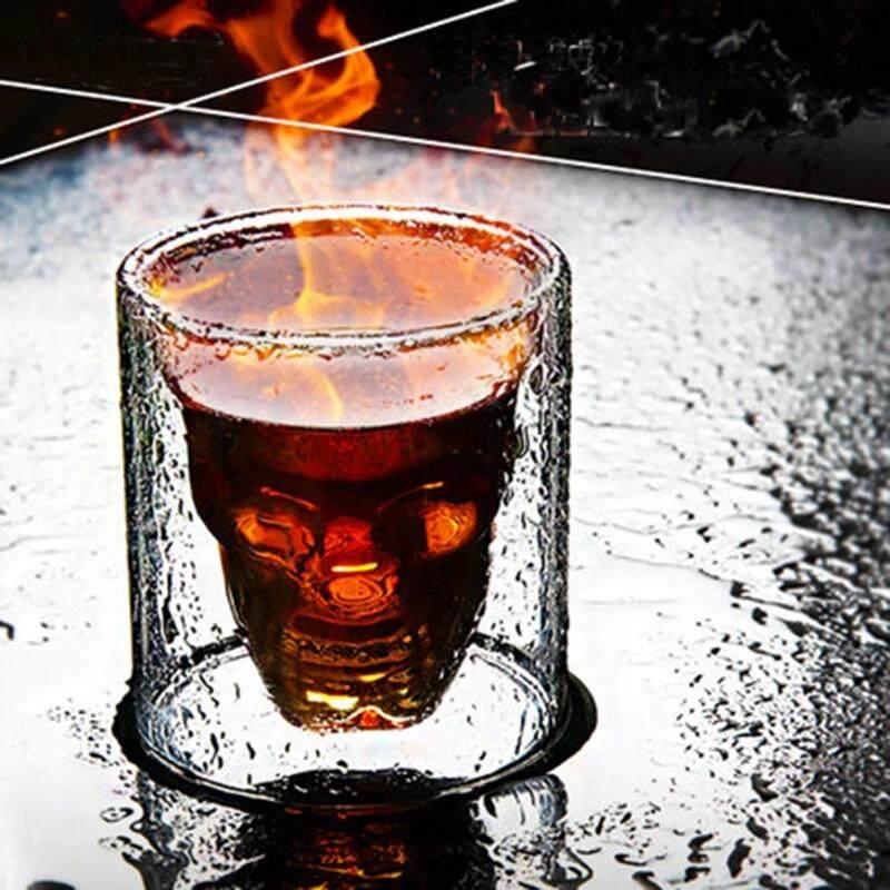 แก้วเหล้า(set 2 ใบ)แก้วหัวกะโหลก,แก้วช็อตสำหรับวิสกี้,วอดก้า, อุปกรณ์ตกแต่ง อุปกรณ์ปาร์ตี้(ขนาด25ml).