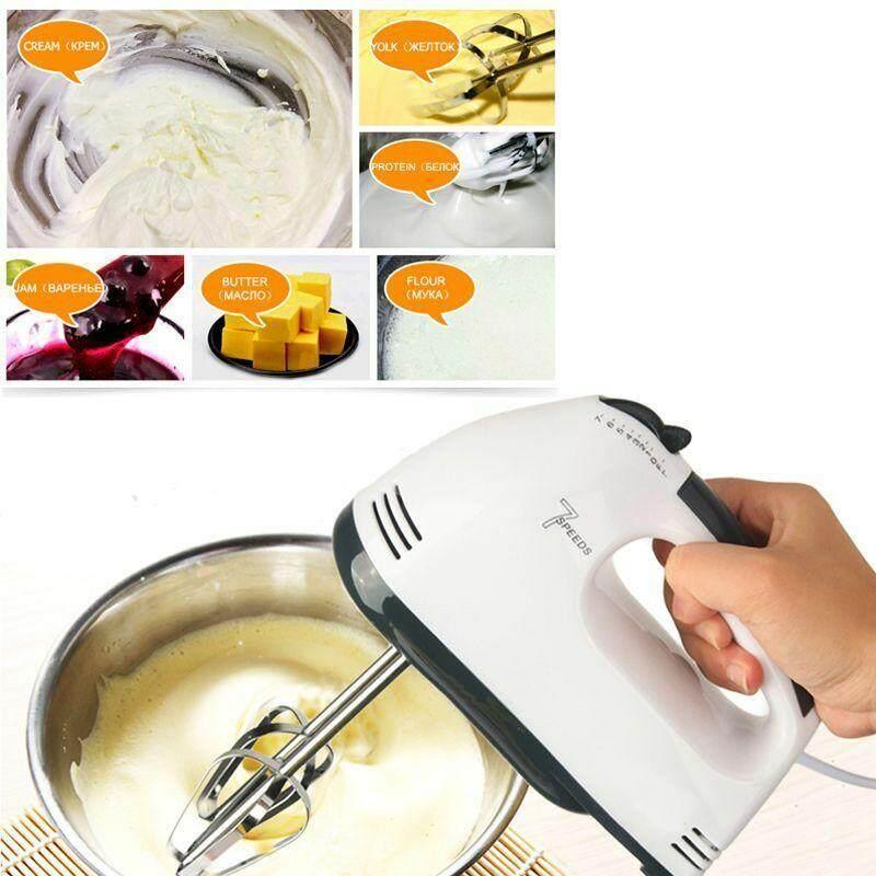 Electric Mixer 7 Speed เครื่องผสมอาหาร เครื่องปั่นผสมแป้ง แบบมือถือ White Food Mixer 180W เครื่องตีแป้ง เครื่องตีไข่ ที่ตีแป้ง ที่ผสมอาหาร
