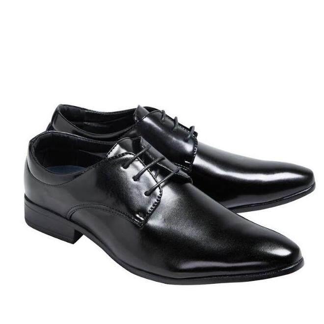Esther รองเท้าหนังผู้ชาย รองเท้าหนังผูกเชือก รุ่น K002 - BLACK (สีดำ)