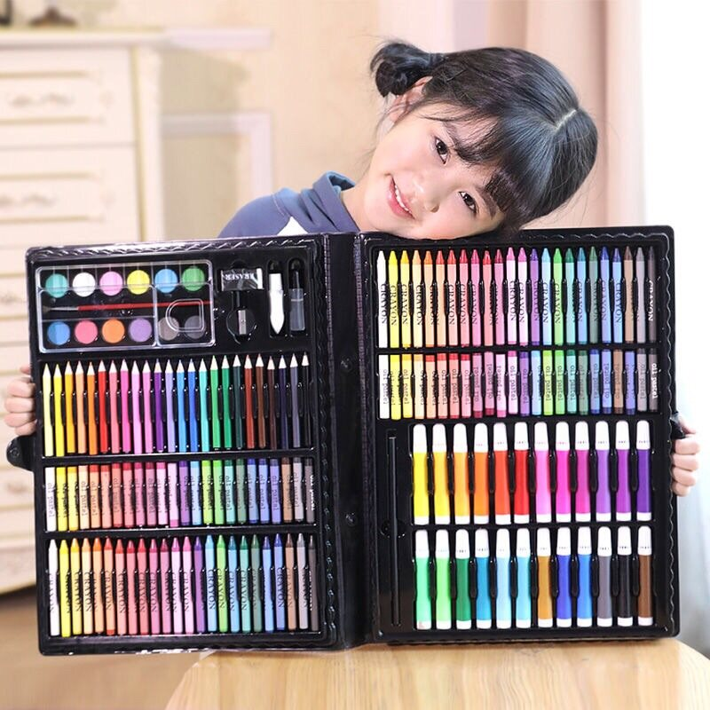 พาเลทชุดระบายสี เซ็ทระบายสี 150 ชิ้น สีน้ำ สีเทียน ดินสอ ยางลบ ไม้บรรทัด สีช็อก เด็ก.
