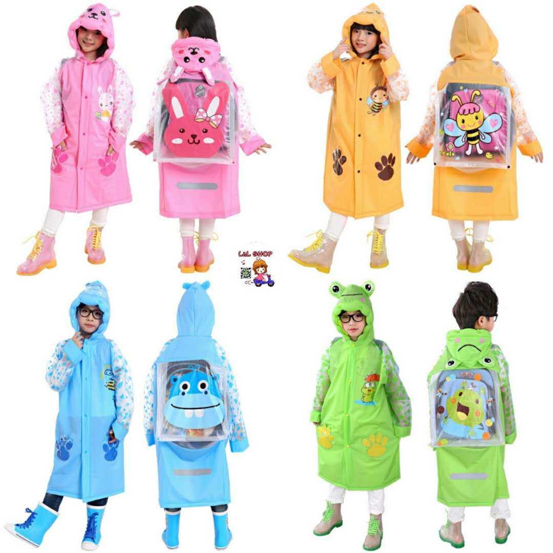 L&l Shop เสื้อกันฝน เสื้อกันฝนเด็ก เสื้อกันฝนเด็กสัตว์สไตล์ Rainwear พร้อมกระเป๋าหนังสือ เป่าลม.