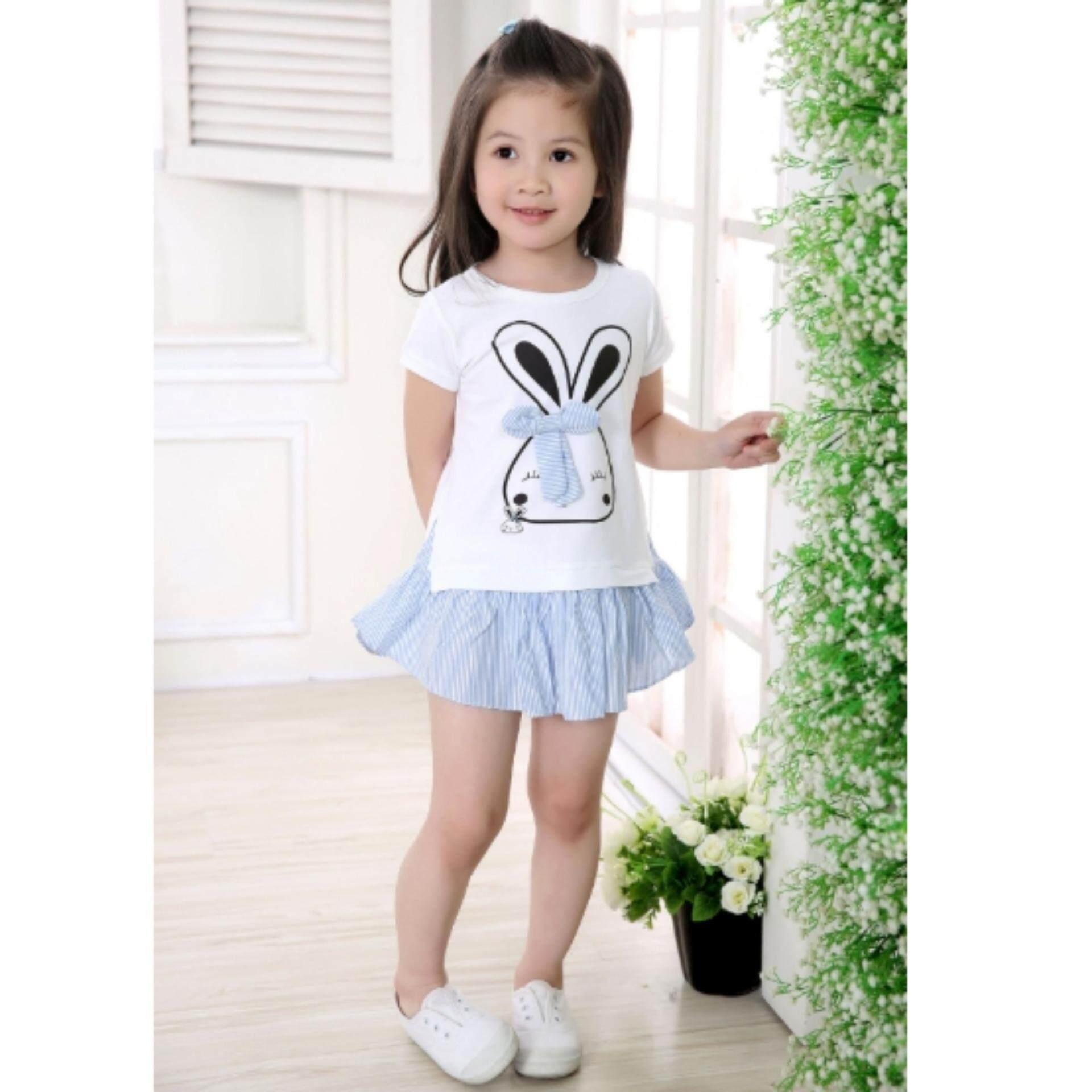 ชุดกระโปรงลายกระต่ายน้อยผูกโบว์สุดน่ารัก Kids Clothes ผ้านุ่มใส่สบาย ไซส์ 70-140 ซม./6 เดือน-10 ปี By Pae Kids Shop.