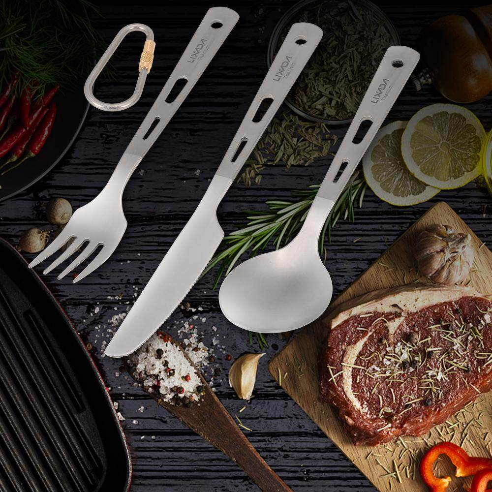 Lixada 3 Piece Cutlery Set Titanium Outdoor Picnic Cutlery Spoon Fork