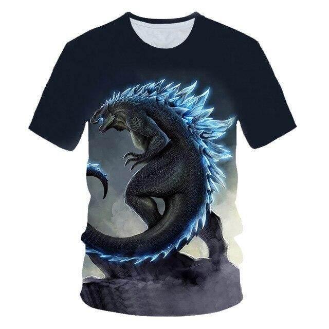 Boys Girls Godzilla Kids 3D Printing Short Sleeve T-shirt Top Summer Clothing