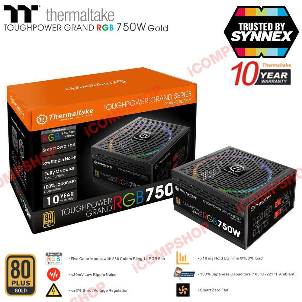 Thermaltake Power Supply Toughpower Grand Rgb 80 Plus Gold 750w (ประกัน Synnex) By Icompshop.